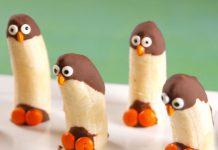 pingüinos de plátanos con chocolate